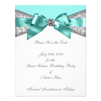 White Diamonds Teal Blue Sweet 16 Save the Date Invitations