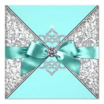 White Diamonds Teal Blue Wedding Card