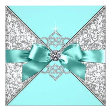 WeddingCentral White Diamonds Teal Blue Wedding Card