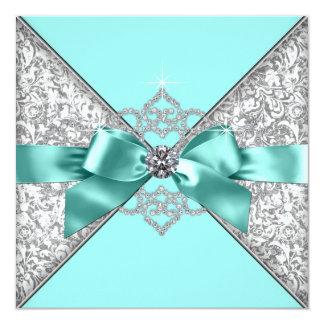 White Diamonds Teal Blue Wedding Invitation