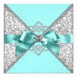 White Diamonds Teal Blue Wedding Invites