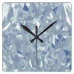 White Diamonds Wall Clock Square