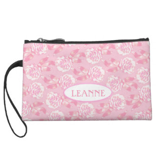 White dianthus carnations on pink name clutch bag wristlets