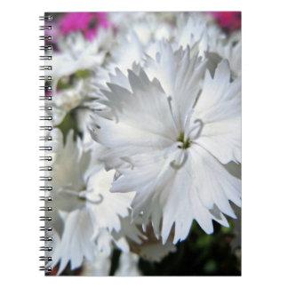 White Dianthus Spiral Notebook