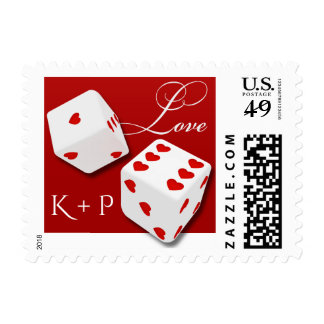 White Dice Red Hearts Love Wedding Monogram Stamp