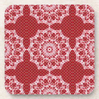 White Digital Flower On Vintage Red Pattern Drink Coaster