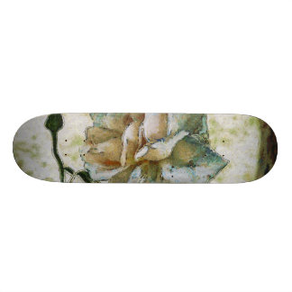 White discolored rose skateboard deck