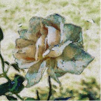 White discolored rose statuette