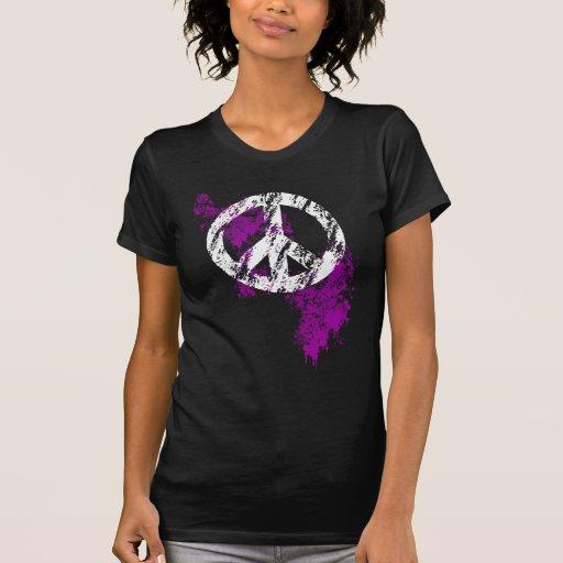 White Distressed Peace Sign Purple Paint Splatter Shirt