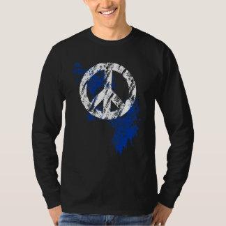 White Distressed Peace Symbol Blue Paint Splatter Tshirts