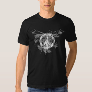 White Distressed Peace Symbol/ Grey Splatter wings Tshirt