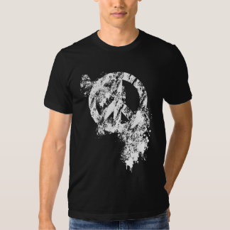 White Distressed Peace Symbol/ Paint Splatter Tee Shirt