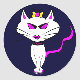 White Diva Cat Classic Round Sticker