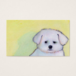 White dog art drawing cute little worried puppy business card