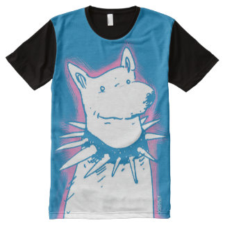 white dog blue contour cartoon style illustration All-Over-Print shirt