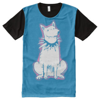 white dog cartoon style illustration blue contour All-Over-Print T-Shirt