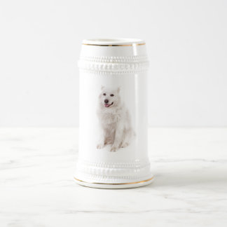 WHITE DOG DIGITAL REALISM PETS HAPPY LOGO CAUSES A BEER STEIN