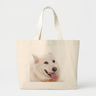 WHITE DOG HAPPY PETS FURRY FRIENDS ANIMALS TAME LO TOTE BAGS