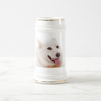 WHITE DOG HAPPY PETS FURRY FRIENDS ANIMALS TAME LO BEER STEIN