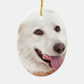WHITE DOG HAPPY PETS FURRY FRIENDS ANIMALS TAME LO CHRISTMAS ORNAMENT