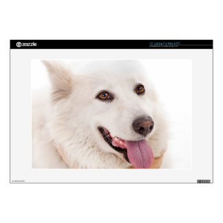 """WHITE DOG HAPPY PETS FURRY FRIENDS ANIMALS TAME LO SKINS FOR 15"""" LAPTOPS"""