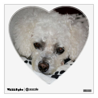 White Dog Heart Wall Decal