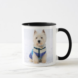 White dog in clothes in the snow. mug