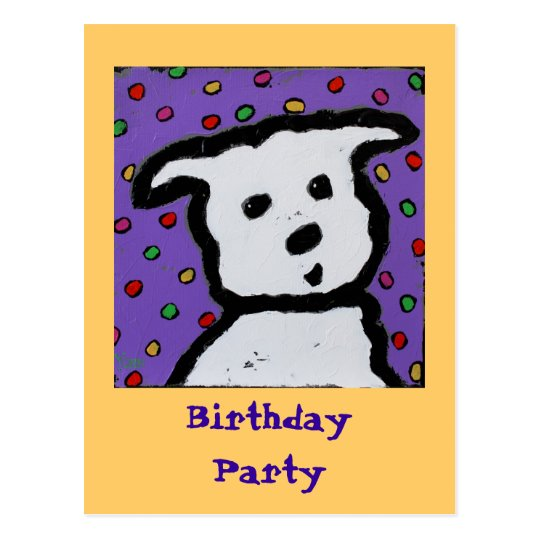 white dog on dots postcard birthday invite