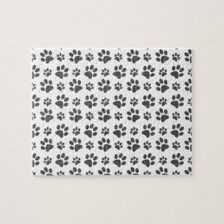 White dog paw print pattern jigsaw puzzles