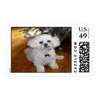 White Dog Pooch Painting Card Postage