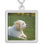 White dog square pendant necklace