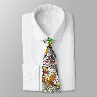 "White ""Dogs, Cats & Birds"" Tie"