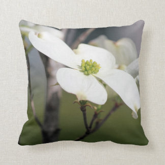 White Dogwood Bloom Throw Pillow