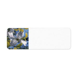 White Dogwood Blossom Custom Return Address Label