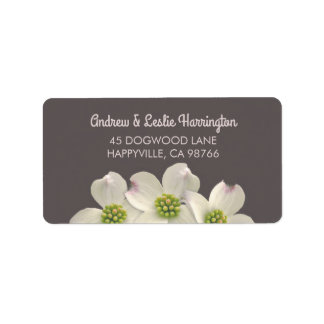 White Dogwood Flowers on Smoke Brown Label