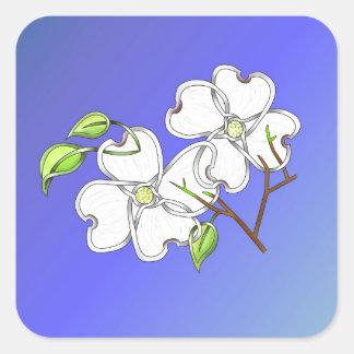 White Dogwood Square Sticker