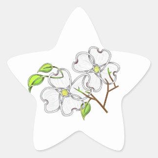White Dogwood Star Sticker
