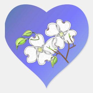 White Dogwood Heart Stickers