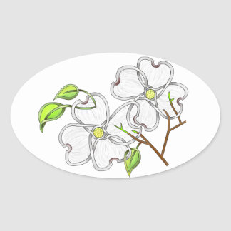White Dogwood Oval Stickers