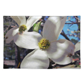 White Dogwood Tree Flowers in shadow Placemat