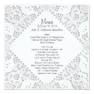 White Doily Look Custom Wedding Menu Card