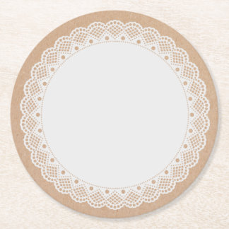 White Doily Look Paper Coasters