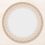 White Doily Look Paper Coasters Round Paper Coaster