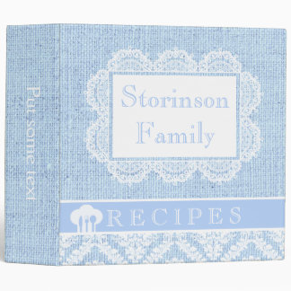 White doily with lace and blue burlap recipe 3 ring binder