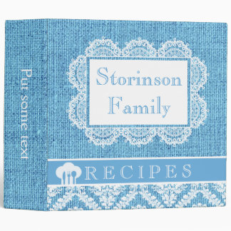 White doily with lace and blue burlap recipe binder