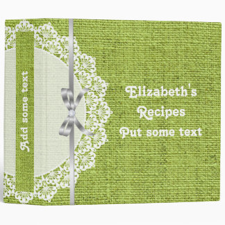White doily with lace and green burlap recipe 3 ring binder
