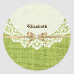 White doily with lace and lime green colored burla classic round sticker