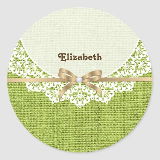 White doily with lace and lime green colored burla sticker