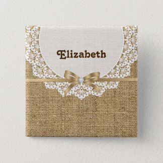 White doily with lace and linen natural burlap button