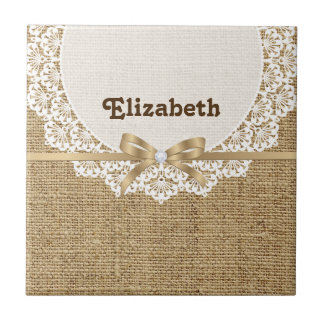 White doily with lace and linen natural burlap ceramic tile